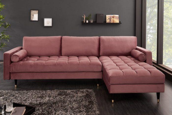 Sofa narożna VELVET 260 cm różowa aksamitna