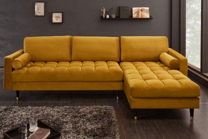 Sofa narożna VELVET 260 cm żółta aksamitna 40277