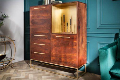 Komoda STRAIGHT 120cm drewno akacjowe złote dodatki