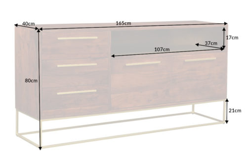 Komoda STRAIGHT 165cm drewno akacjowe
