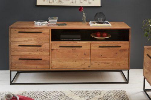 komoda STRAIGHT 165cm drewno akacjowe czarne dodatki retro