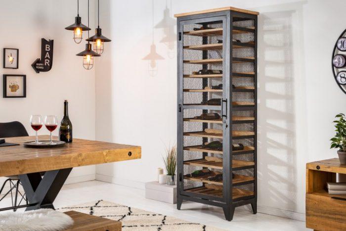 Industrialna szafka na wino BODEGA 184cm drewno sosnowe 72 butelki