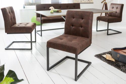 Industrialne krzesło na płozie RIDER vintage brązowe