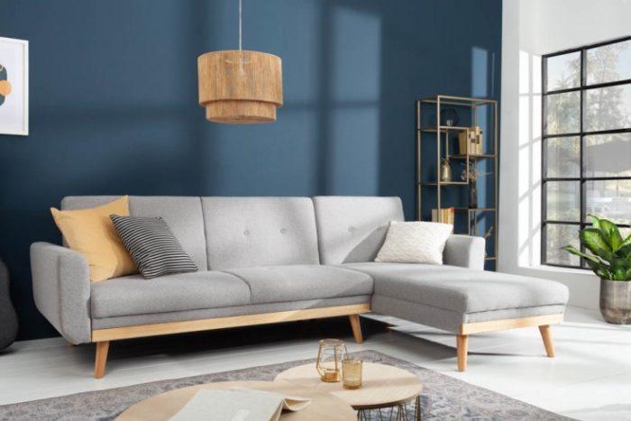 Skandynawska rozkładana sofa SKAGEN 265cm jasnoszara funkcja spania