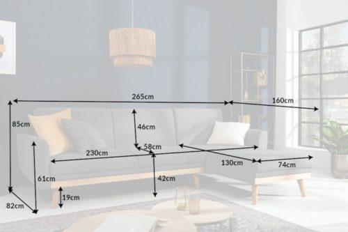 Skandynawska rozkładana sofa SKAGEN 265cm szara funkcja spania