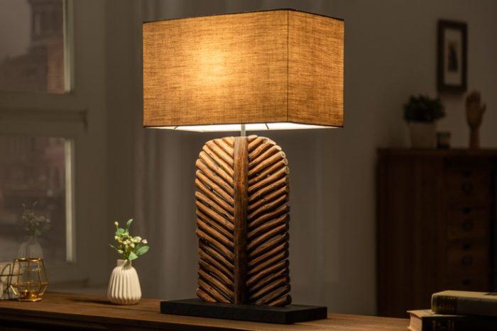 Lampa stołowa LEAF 64cm drewno longan