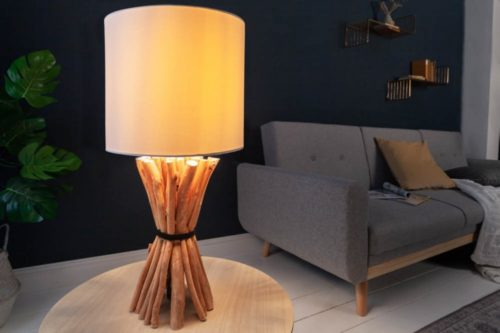 Lampa stołowa EUPHORIA 56cm drewno logan lniany klosz