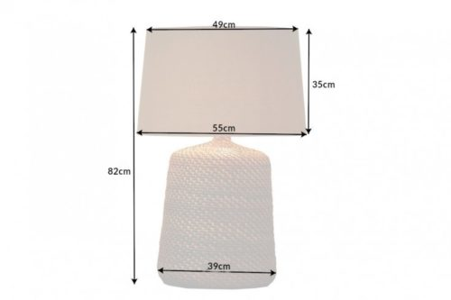 Lampa stołowa CORINN 82cm szary rattan