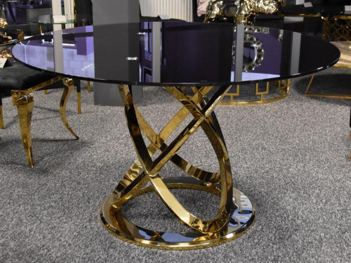 Stół szklany okrągły czarny 130cm