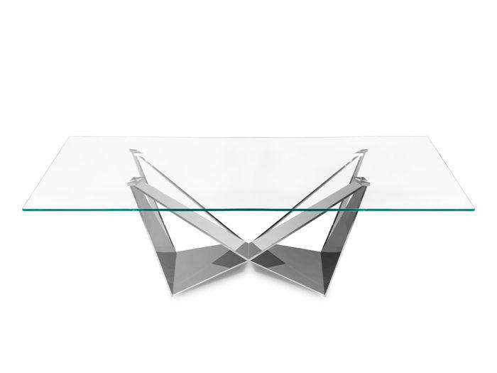 Stół szkło 240 cm stal nierdzewna