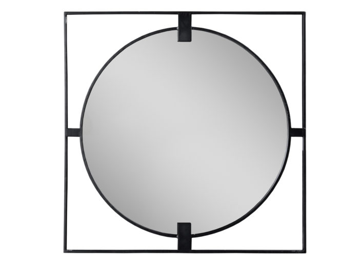 Lustro w czarnej ramie 90 x 2 cm