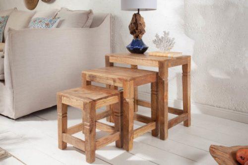 Zestaw 3 stolików FINCA 45cm drewno mango
