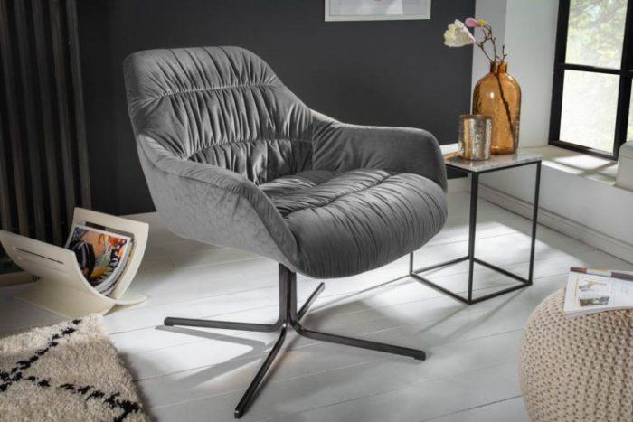 fotel BIG DUTCH z szarego aksamitu