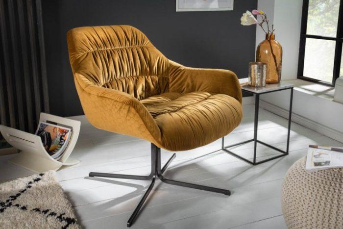 fotel BIG DUTCH musztardowo-żółty aksamit