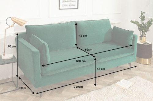 Sofa FAMOUS 210 cm szmaragdowo-zielona aksamitna