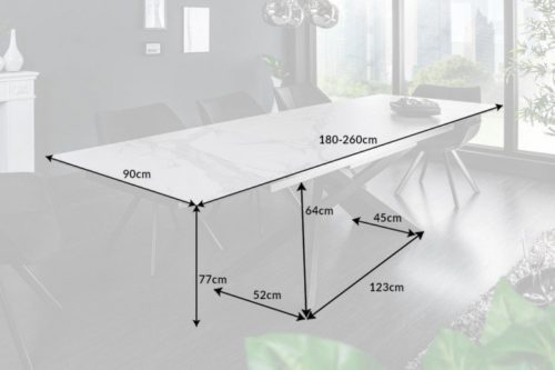 Duży rozkładany stół EUPHORIA 180-220-260 cm biały blat ceramiczny