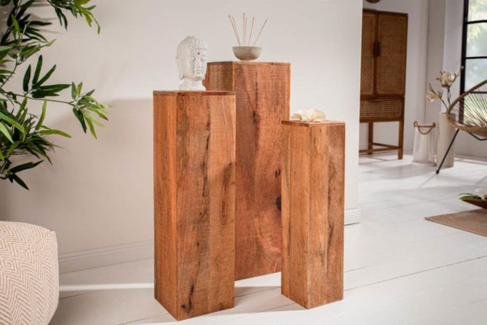 Zestaw 3 kolumn MAKASSAR 80cm z drewna mango