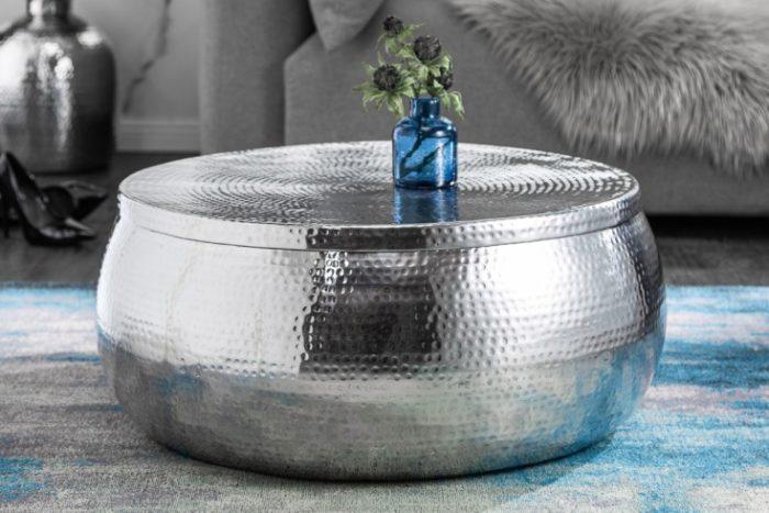 Stolik kawowy Orient Storage 70cm srebrny