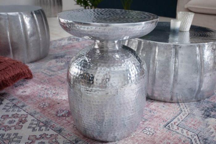Stolik kawowy Orient Storage 36 cm srebrny