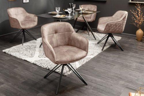 Krzesło obrotowe EUPHORIA z beżowe aksamitu w stylu retro