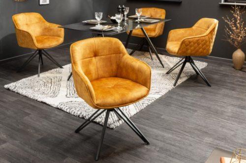 Krzesło obrotowe EUPHORIA musztardowe aksamit w stylu retro
