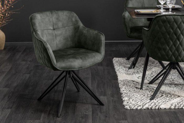 Krzesło obrotowe EUPHORIA z szarego aksamitu w stylu retro