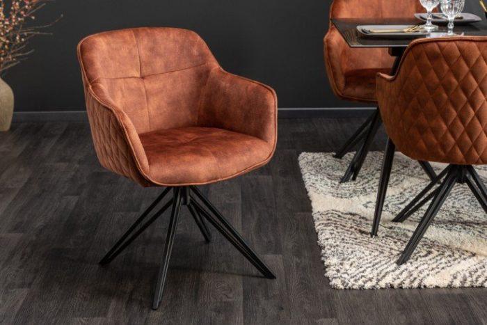 Krzesło obrotowe EUPHORIA z brązowego aksamitu w stylu retro