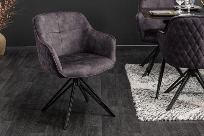 Krzesło obrotowe EUPHORIA z ciemnoszarego aksamitu w stylu retro