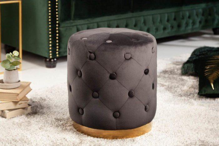 Pufa Modern Barock pikowana czarna 36cm