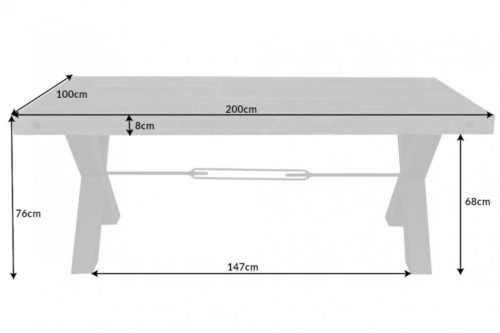 Stół THOR 200cm drewno industrialny