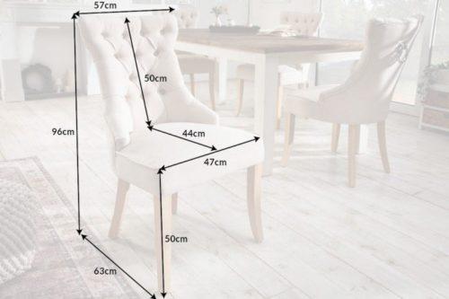 Krzesło CASTLE w stylu rustykalnym z beżowego lnu