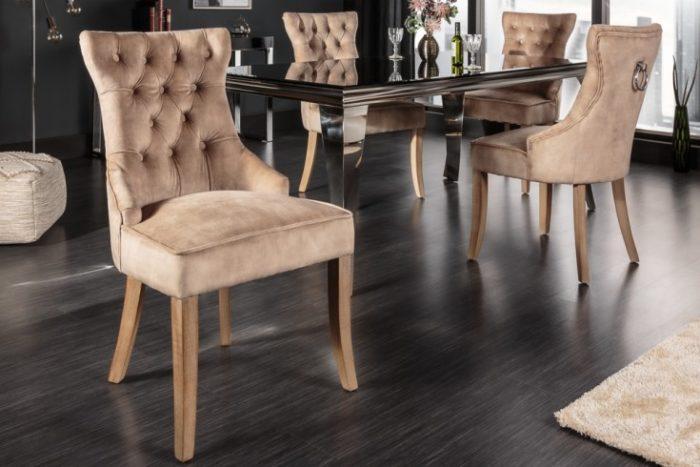 Krzesło CASTLE w stylu rustykalnym z lnu w kolorze kawowym