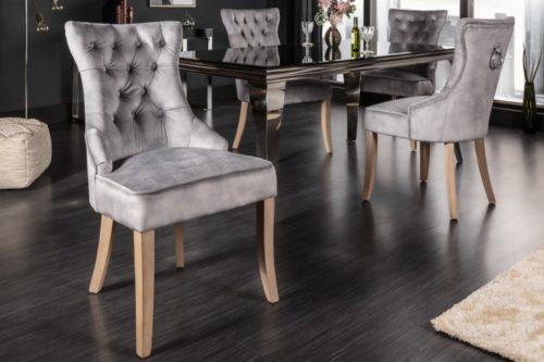 Krzesło CASTLE w stylu rustykalnym z lnu w kolorze szarym