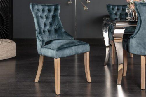 Krzesło CASTLE w stylu rustykalnym z lnu w kolorze morskim