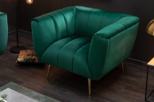 Fotel retro NOBLESSE 106cm szmaragdowozielony aksamit