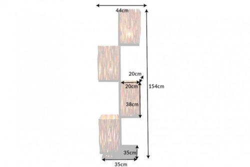 Ręcznie robiona lampa podłogowa EUPHORIA 154cm drewno longan cztery abażury