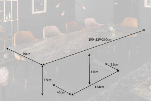 Duży rozkładany stół EUPHORIA 180-220-260 cm blat ceramiczny