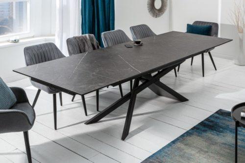 Duży rozkładany stół EUPHORIA 180-220-260 cm grafitowy blat ceramiczny
