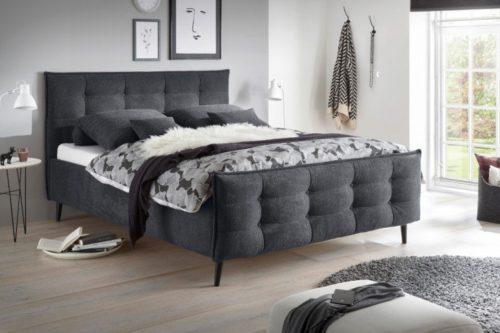 Łóżko SEATTLE 160x200cm antracytowe sypialnia