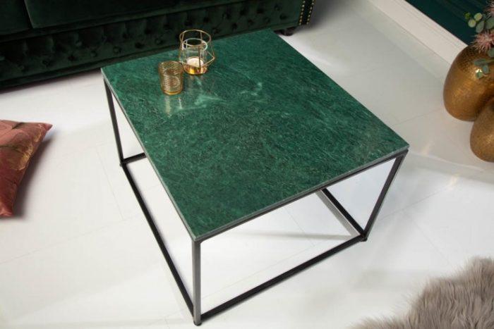 Stolik kawowy ELEMENTS 50cm zielony marmur
