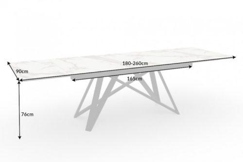 Masywny rozkładany stół do jadalni ATLAS 180-220-260cm blat marmurowy