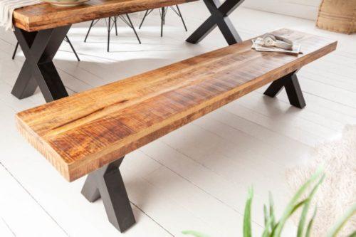 Industrialna ławka IRON CRAFT 200 cm drewno mango