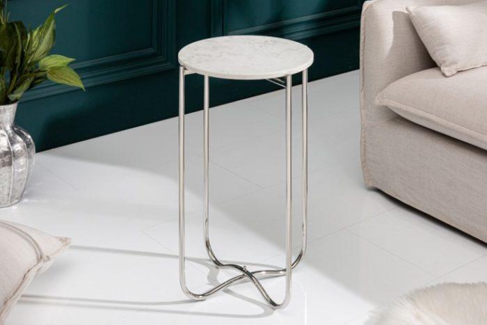 Boczny stolik NOBLE I 35 cm biały marmur