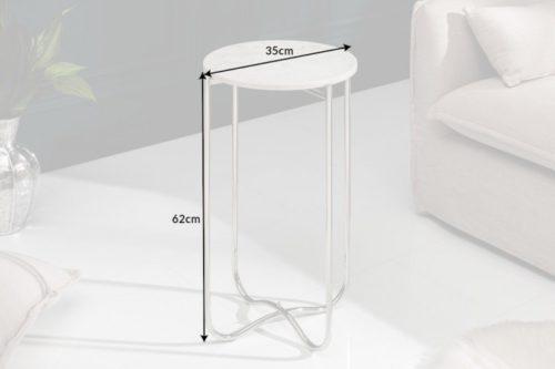 Boczny stolik NOBLE I 35 cm biały marmur składany stelaż