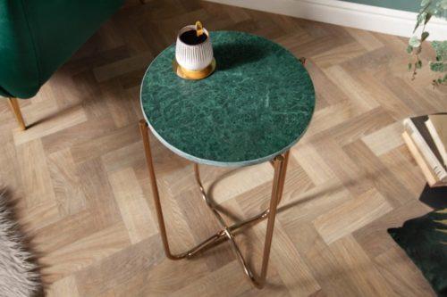 Boczny stolik NOBLE I 35 cm zielony marmur składany stelaż