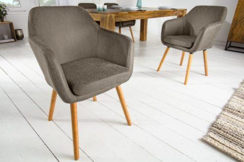 Krzesło SUPREME vintage taupe drewno kauczukowe
