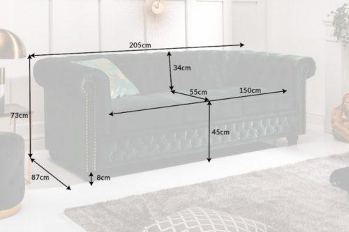 3-osobowa sofa w kolorze butelkowej zieleni styl Chesterfield