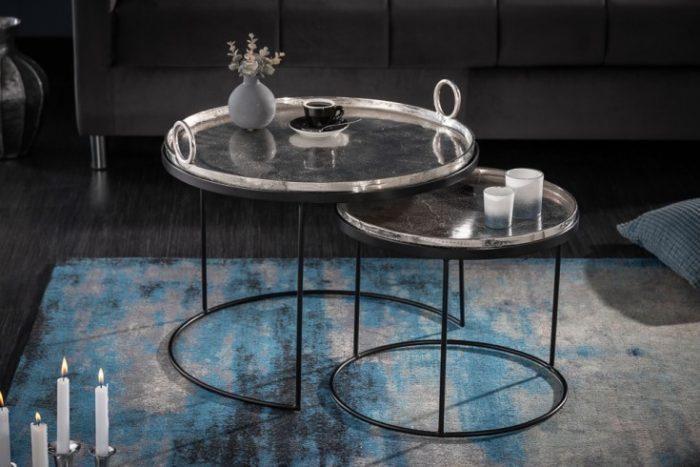 Zestaw 2 stolików kawowych ELEMENTS 62cm srebrne