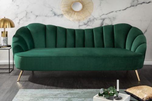 Retro 3-osobowa sofa ARIELLE 220cm szmaragdowa zieleń