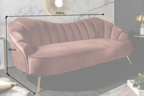 Retro 3-osobowa sofa ARIELLE 220cm aksamit w kolorze różu